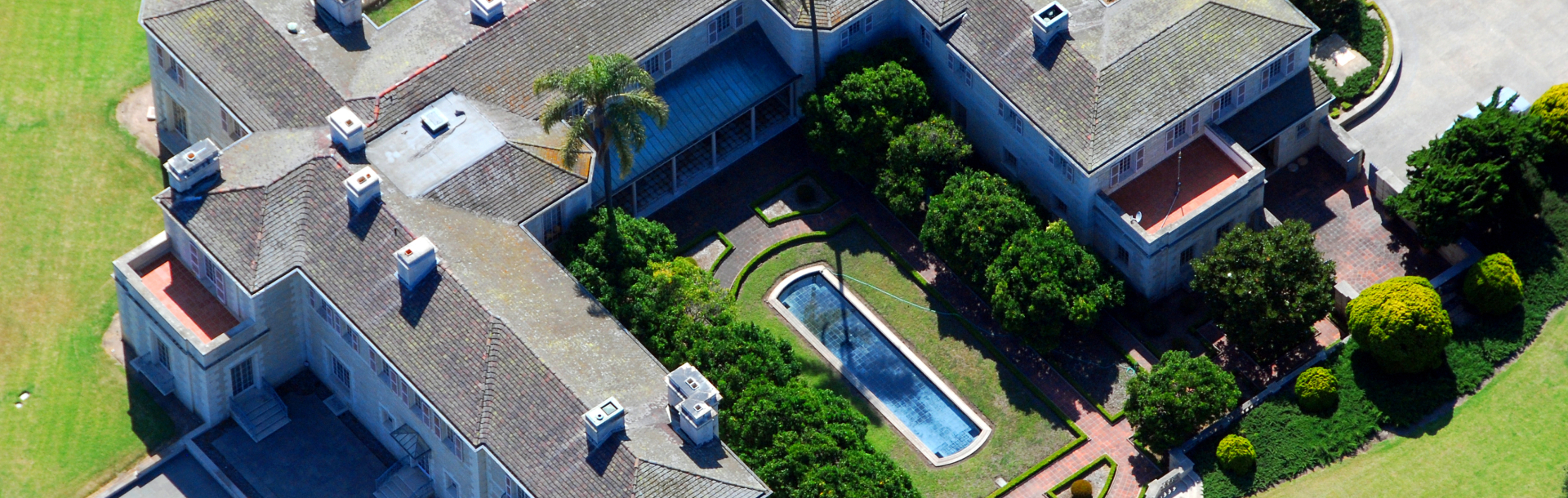 Aerial view of lavish home Bellosguardo in Santa Barbara