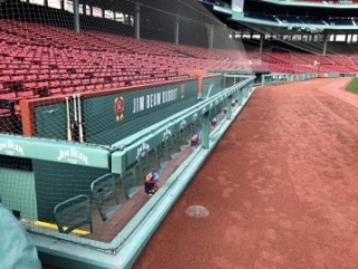 Netting in front of stadium seats at Fenway Park