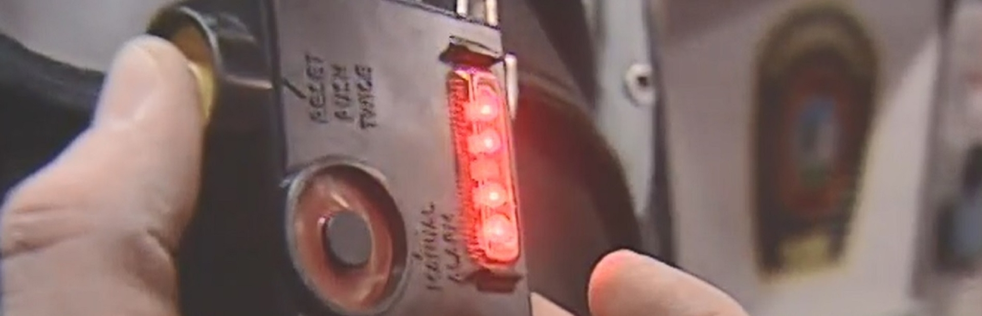 Firefighter safety monitor with lights on