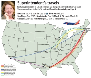Map showing trips by school superintendent Julia Earl to Texas