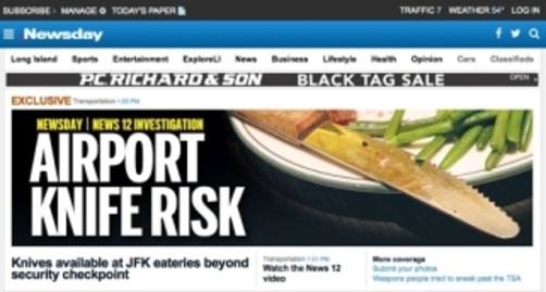 Newsday headline on airport knife risk